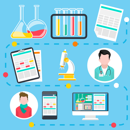 doctor and patient: Infographic of steps by online medical consultation and diagnosis with assorted medical icons flat design
