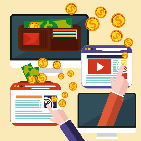 Pay per click internet advertising model when the ad is clicked. Monitor with button buy modern flat design cartoon style Vector