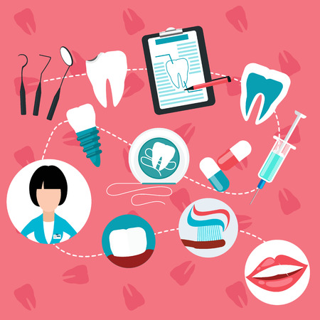 Stages and methods of dental treatment, hygiene and teeth helth infographic Illustration