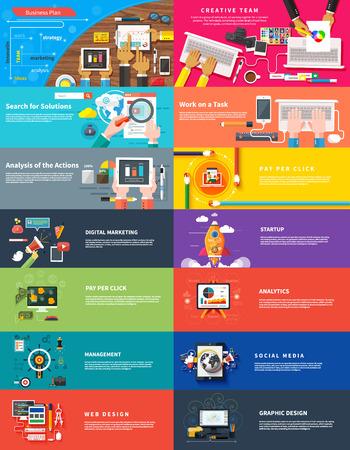 redes de mercadeo: Gestión de marketing digital de análisis de planificación srartup equipo creativo diseño pago por clic SEO medios de comunicación social las acciones de análisis y puesta en marcha del desarrollo. Banners para sitios web FLAR estilo de diseño Vectores