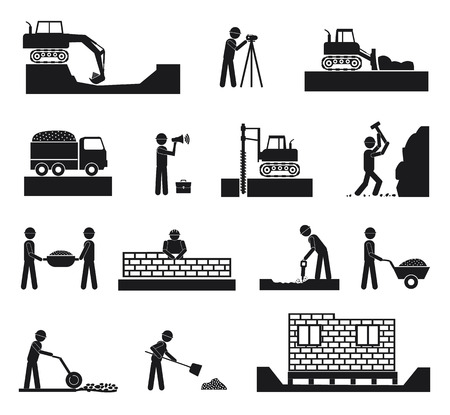 Set of builder construction industry management icons, civil engineering and management in black color on white background