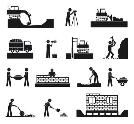 Set van bouwer bouw beheer pictogrammen, civiele techniek en management in zwarte kleur op witte achtergrond Stock Illustratie
