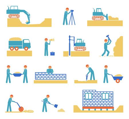 construction management: Set di icone di gestione edilizia costruttore, ingegneria civile e la gestione su sfondo bianco Vettoriali