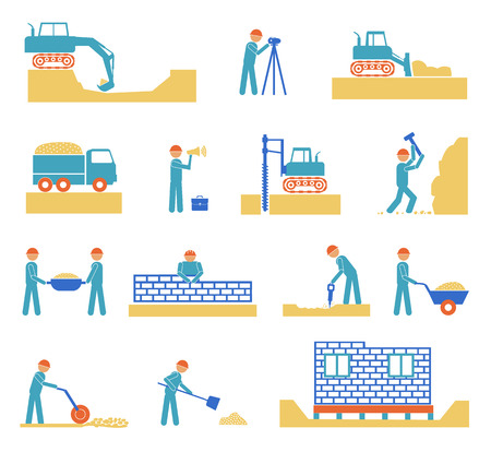 civil engineering: Set of builder construction industry management icons, civil engineering and management on white background
