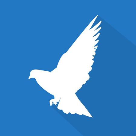 paloma caricatura: Creativa icono paloma blanca con la sombra sobre fondo azul Vectores