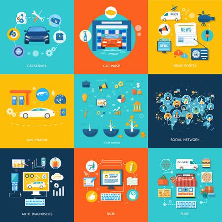 자동차 서비스 세차 주유소 자동 진단. 소셜 미디어 및 네트워크 연결 개념. 온라인 스토어에서