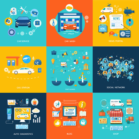 Car service car wash gas station auto diagnostics. Social media and network connection concept. On line store Ilustrace