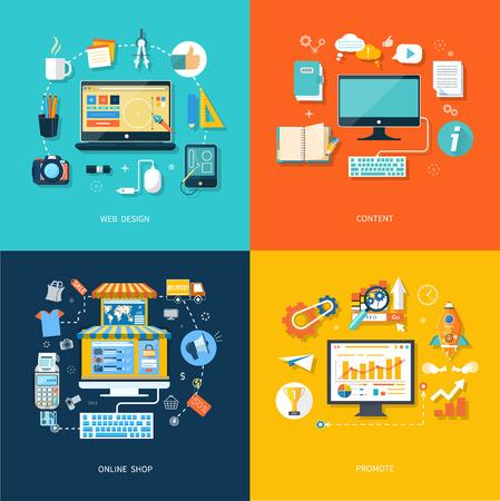 contact: Internet shopping concept. Web design concept. Web contact and business newsletter concept. Promote concept Illustration