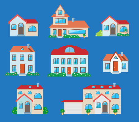 Houses icons set. Real estate in cartoon style on blue background Vector