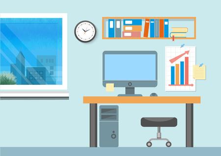 libro caricatura: Interior de la oficina moderna con el dise�o de escritorio de dise�o plano. Espacio de trabajo moderno del asunto en la oficina con ventana Vectores