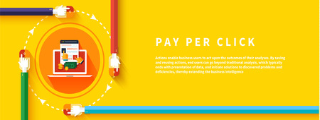 clicked: Pay per click internet advertising model when the ad is clicked. Modern flat design
