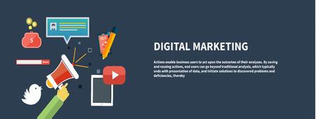 digital marketing: Icons for marketing. Digital marketing concept. Flat design stylish megaphone with application icons Illustration