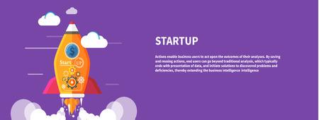 Bedrijf opstarten idee sjabloon. Opstarten raket idee. Nieuwe business project opstarten, het lanceren van nieuwe producten of diensten in platte ontwerp