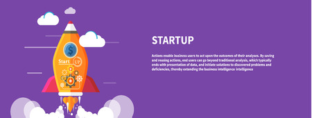 new ideas: Business start up idea template. Start up rocket idea. New business project start up, launching new product or service in flat design