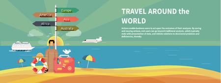 turista: Icone set di viaggiare, pianificazione di una vacanza estiva, il turismo e gli oggetti di viaggio e dei bagagli dei passeggeri in design piatto. Diversi tipi di viaggio. Concetto di viaggio d'affari