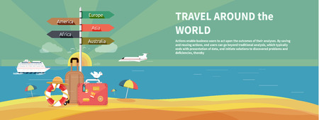 trip travel: Icons set of traveling, planning a summer vacation, tourism and journey objects and passenger luggage in flat design. Different types of travel. Business travel concept