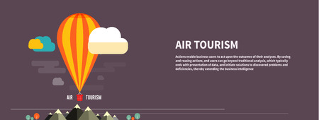 Hot air balloon flying over the mountain. Icons of traveling, planning a summer vacation, tourism and journey objects Vector