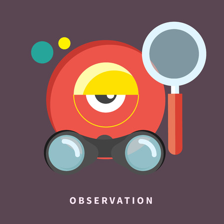 Icon in flat design for observation and monitoring Vector