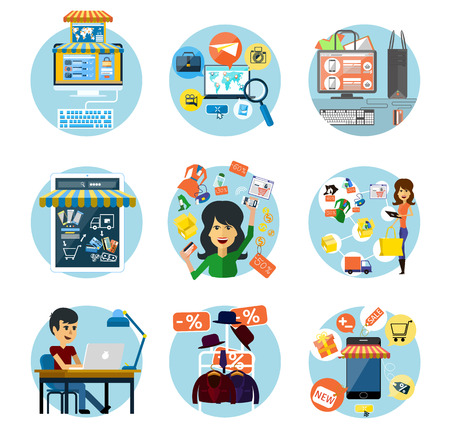Set of flat online shopping and banking concepts Vector