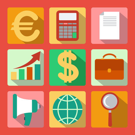 Set of 9 analysis, marketing colorful square icons Vector