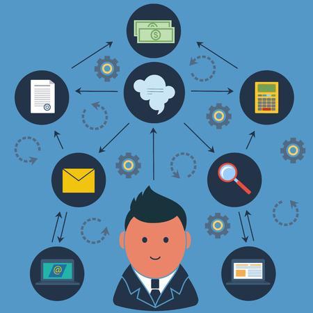 people thinking: Empresario rodeado actividades empresariales iconos Vectores
