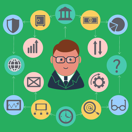 Businessman surrounded finance activities icons