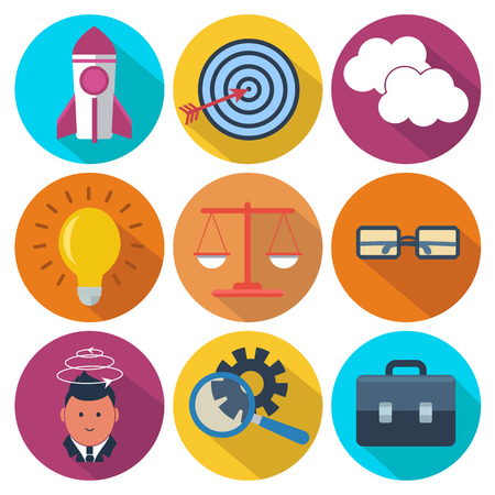 Set of 9 business, marketing colorful round icons Vector