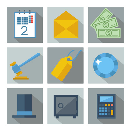 stovepipe: Set of 9 financial investment square icons