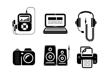 Icons set in black for multimedia and office devices with loudspeaker, player, headset, laptop, camera and printer. Isolated on white background Illustration