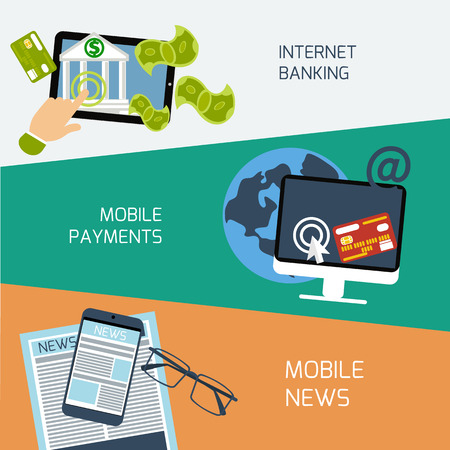 gateway: Set of concepts for mobile news, mobile payments and internet banking in flat design Illustration
