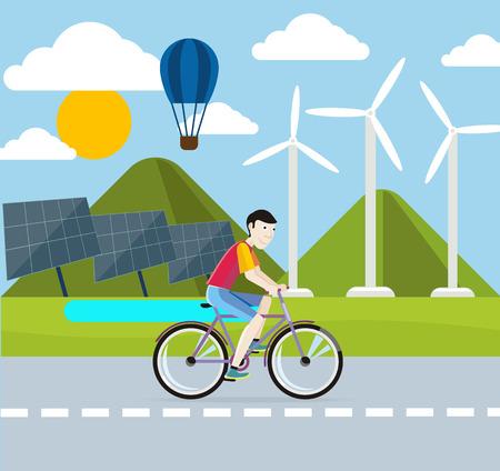 solar equipment: Concepto de energ�a renovable. Energ�a solar y e�lica
