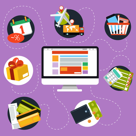 internet shopping: Internet shopping process and delivery Illustration