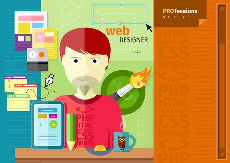 concepteur web: Web designer Homme avec tablette sur le lieu de travail Illustration
