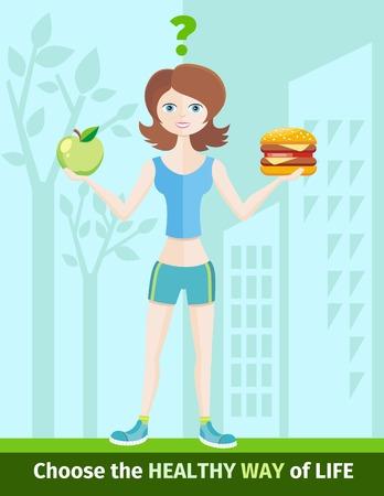 indeciso: Estilo de vida saludable y el concepto de dieta con la mujer en ropa deportiva de elegir entre comer manzana verde o hamburguesa.