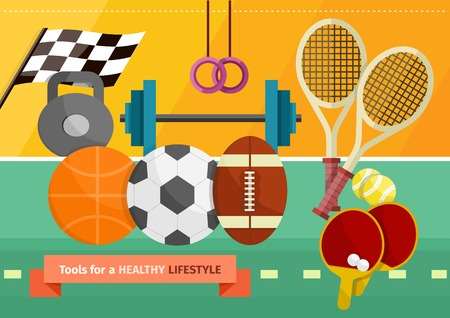 sport equipment: Gym with sport equipment concept