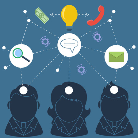 Teamwork concept with business people silhouettes Vector