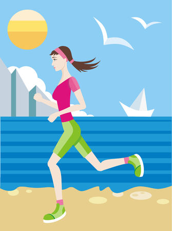 Girl in a sports uniform jogging on beach Illustration