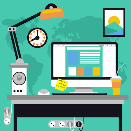 Flat design concept of workspace with computer and computer devices, lamp, loudspeaker and world map on background Illustration