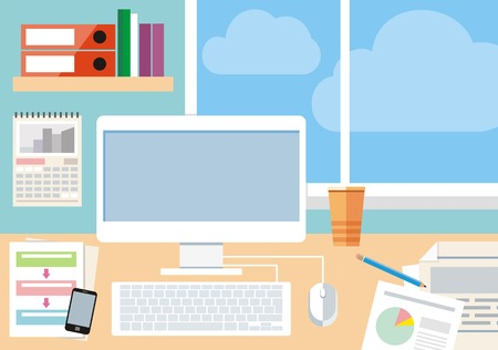 Arbeitsplatz mit Computer, Smartphone und Fenster Standard-Bild - 33256936