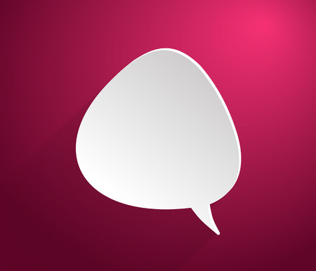 babble: Bubble icon on stylish red background paper cartoon design style Illustration