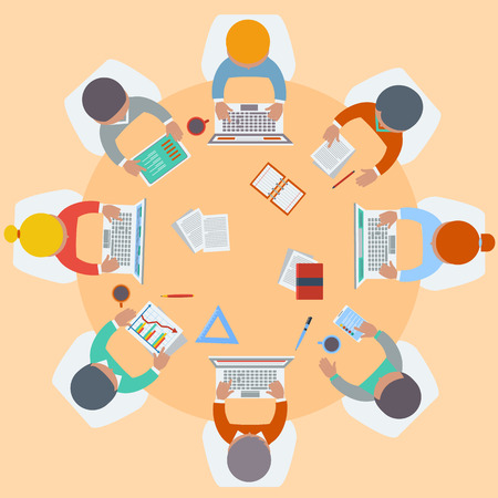round chairs: Office teamwork workers business management meeting and brainstorming on round table in top view flat design cartoon style