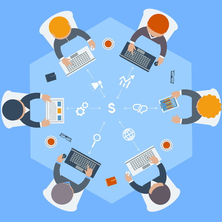 teamwork cartoon: Office teamwork workers business management meeting and brainstorming on round table in top view flat design cartoon style