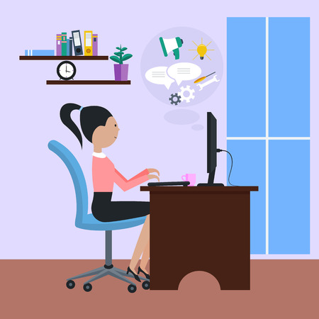 computadora caricatura: Mujer chica sentada en silla en la mesa delante de monitor de la computadora y el estilo de dise�o plano de dibujos animados. Vista lateral de la mujer oficinista que usa el ordenador en el escritorio en la oficina cerca de la ventana