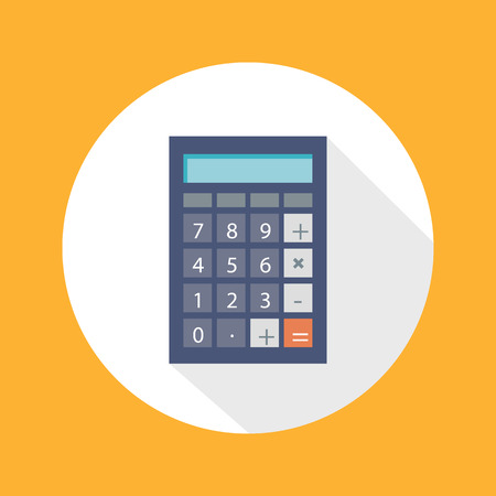 Calculator icon with mathematical symbols multiplication division plus minus construction flat design long shadow style Illustration