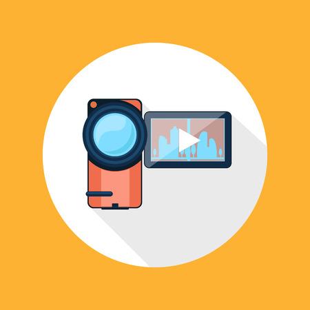 video camera icon: Video camera icon cartoon flat design long shadow style Illustration