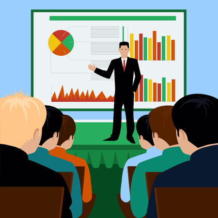Flat design concept of businessman presenting development and financial plan on meeting Vector