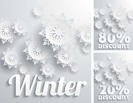 Discount percent with snowflake on white winter Vector