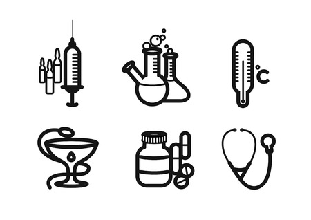 pill box: Icons black color set with syringe, thermometer, pills, stethoscope on white background