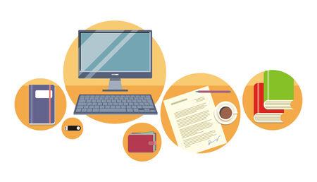 vista desde arriba: Top ordenador vista, bloc de notas, la pluma sobre el papel con el documento en un escritorio en la oficina. Vista desde arriba Vectores