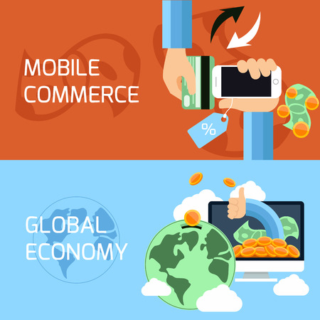 mobile commerce: Flat design concept of mobile commerce, online shopping and global finance, economy with digital devices Illustration